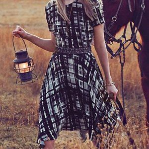 ANTHRO Painted Plaid Dress Black & White Hanky Hem